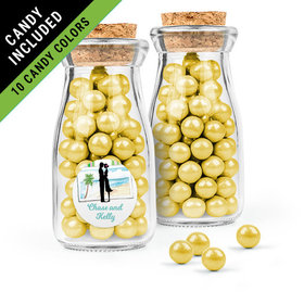 Personalized Bridal Shower Favor Assembled Glass Bottle with Cork Top with Sixlets