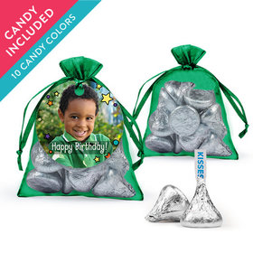 Personalized Kids Birthday Favor Assembled Organza Bag with Hershey's Kisses