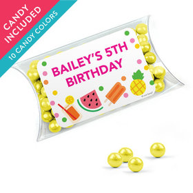 Personalized Kids Birthday Favor Assembled Pillow Box with Sixlets